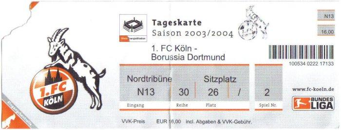 Tickets Dortmund Köln